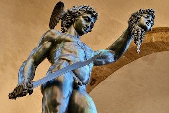 Italy, Tuscany, Florence, UNESCO World Heritage Site, Piazza della Signoria square, Loggia Dei Lanzi...