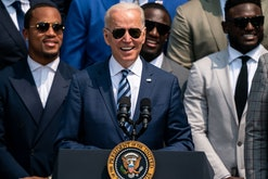 WASHINGTON, DC - JULY 20: President Joe Biden welcomes the Tampa Bay Buccaneers to the White House t...