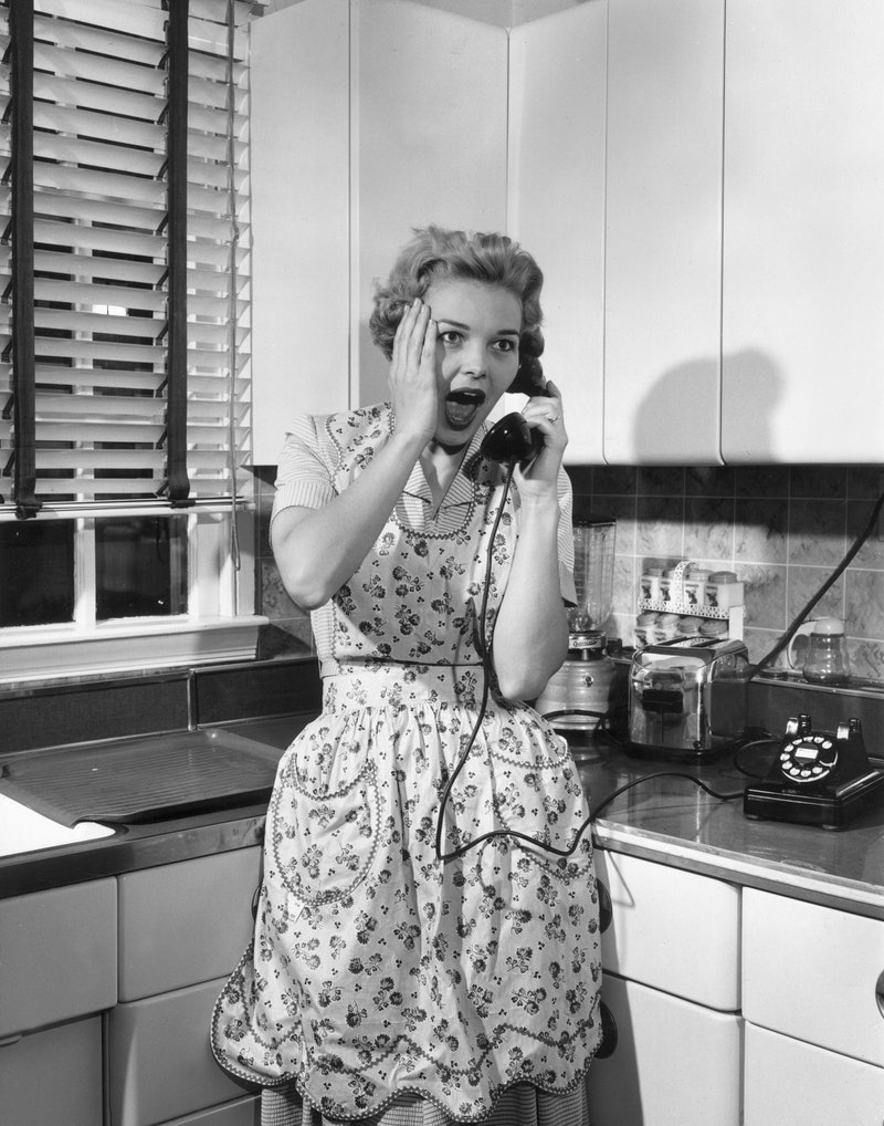 A housewife talking on the telephone in the kitchen gasps. Experts explain how to get rid of a toxic...