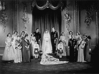Princess Elizabeth, Prince Philip, Duke of Edinburgh with King George VI and Queen Elizabeth (right)...