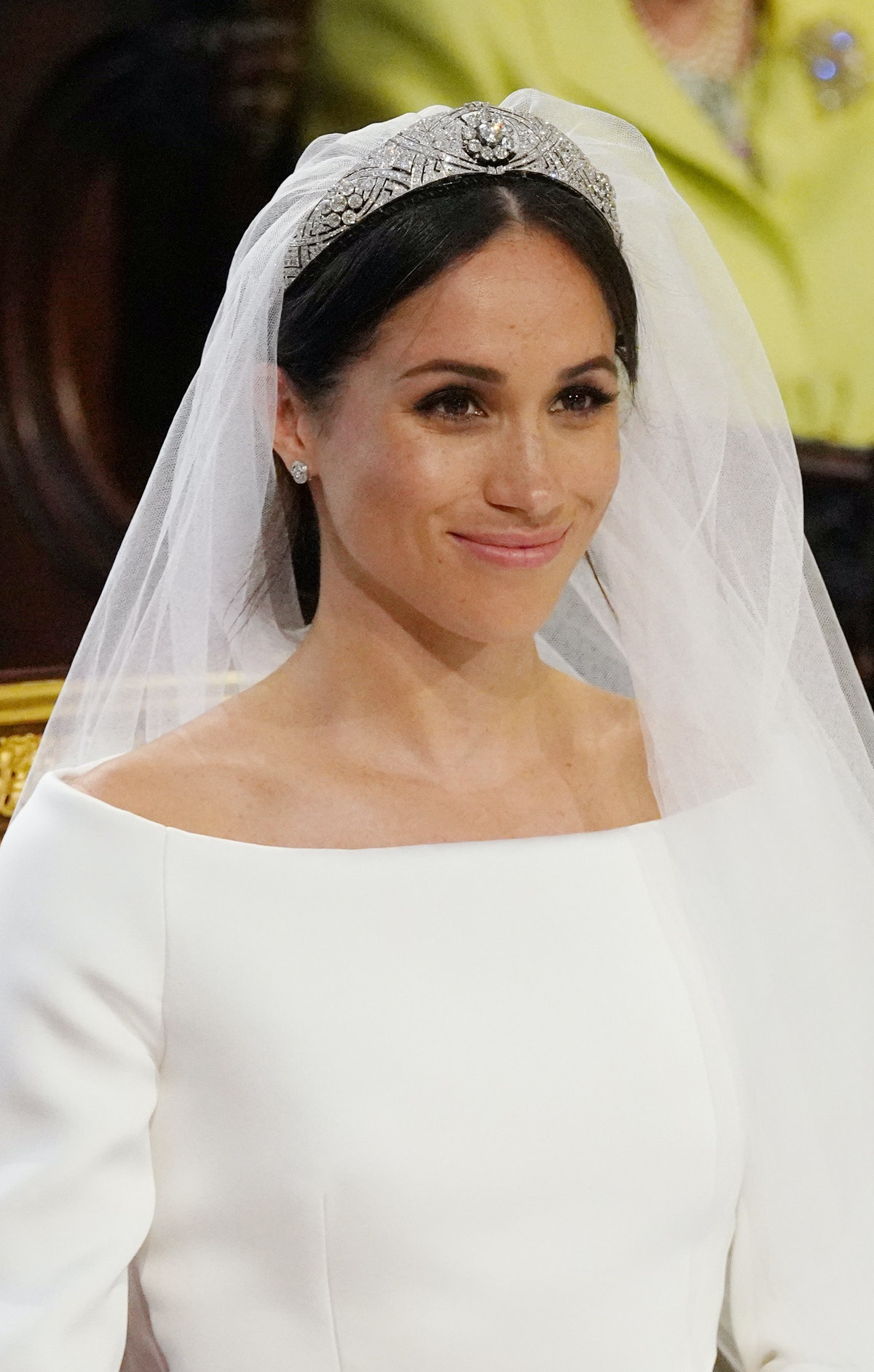 US fiancee of Britain's Prince Harry, Meghan Markle arrives at the High Altar for their wedding cere...