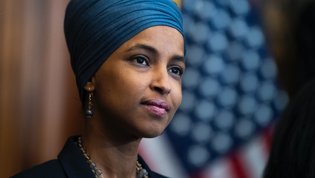 UNITED STATES - JUNE 17: Rep. Ilhan Omar, D-Minn., attends a bill enrollment ceremony for the Junete...