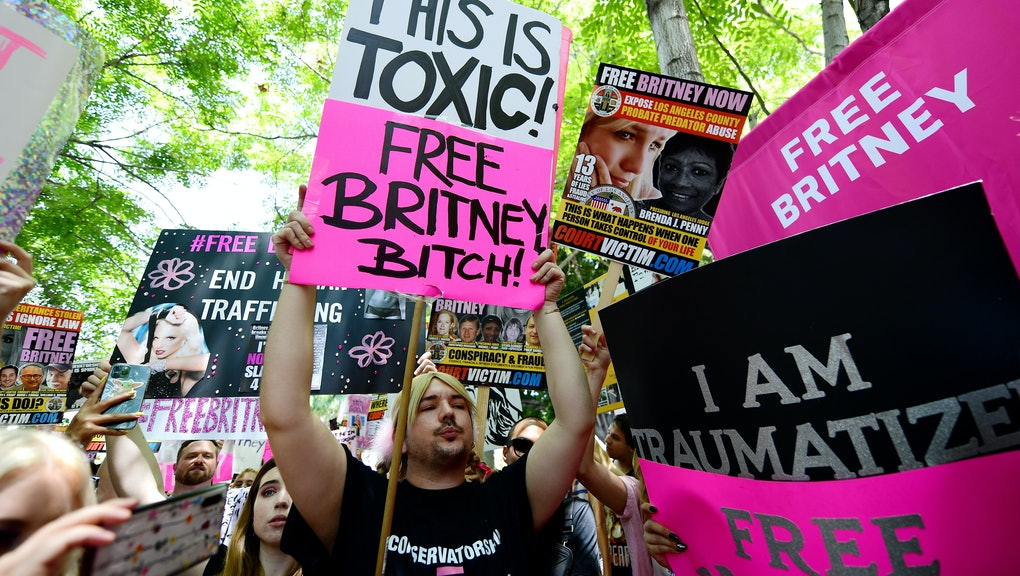 LOS ANGELES, CALIFORNIA - JULY 14: Protesters attend a #FreeBritney Rally at Stanley Mosk Courthouse...