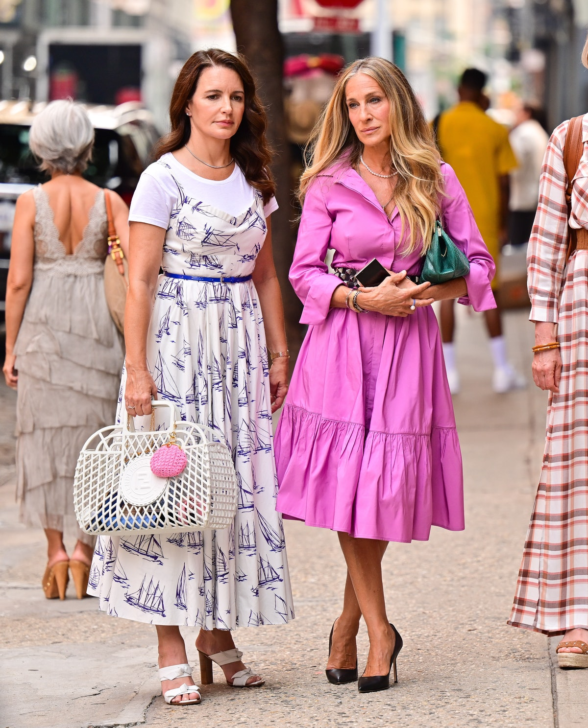 """NEW YORK, NEW YORK - JULY 20:  Kristin Davis and Sarah Jessica Parker are seen on the set of """"And Just Like That..."""" the follow up series to """"Sex and the City"""" in SoHo on July 20, 2021 in New York City. (Photo by James Devaney/GC Images)"""