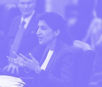 WASHINGTON, DC - APRIL 21: FTC Commissioner nominee Lina M. Khan testifies during a Senate Commerce,...