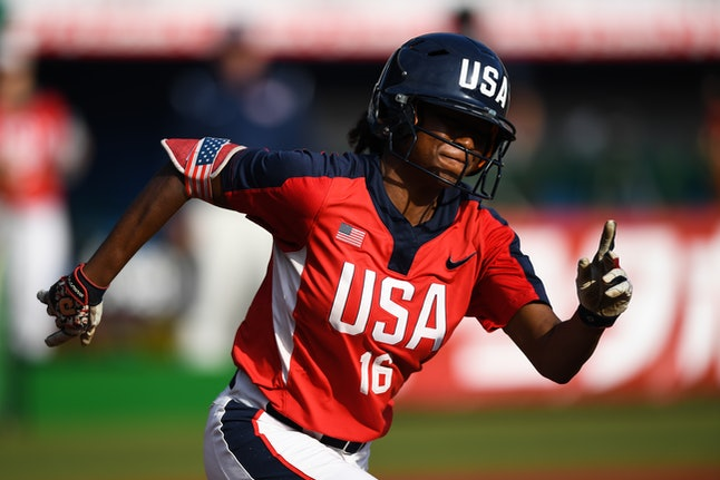 CHIBA, JAPAN - AUGUST 10: Michelle Jeanette Moultrie #16 of United States runs the bases against Aus...