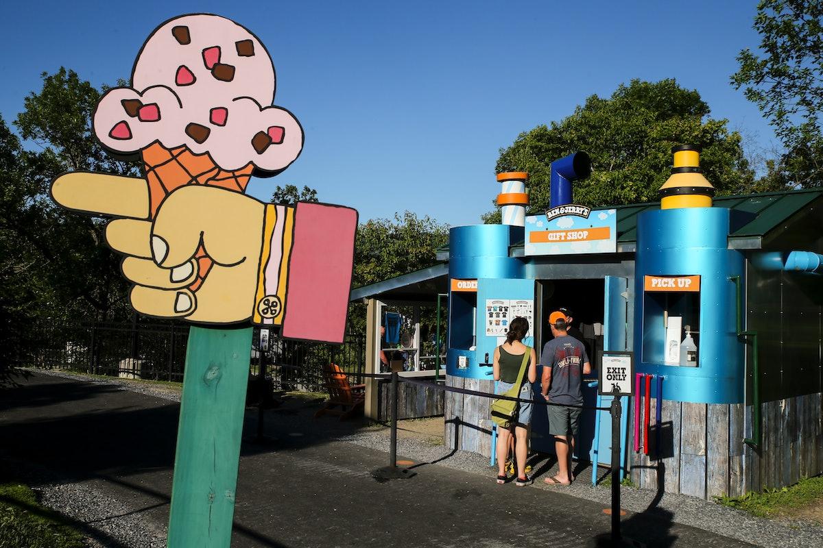 Waterbury, VT - June 24: Visitors buy good at the gift shop of Ben & Jerrys factory in Waterbury, Ve...