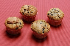 Blueberry Muffins on Red Black