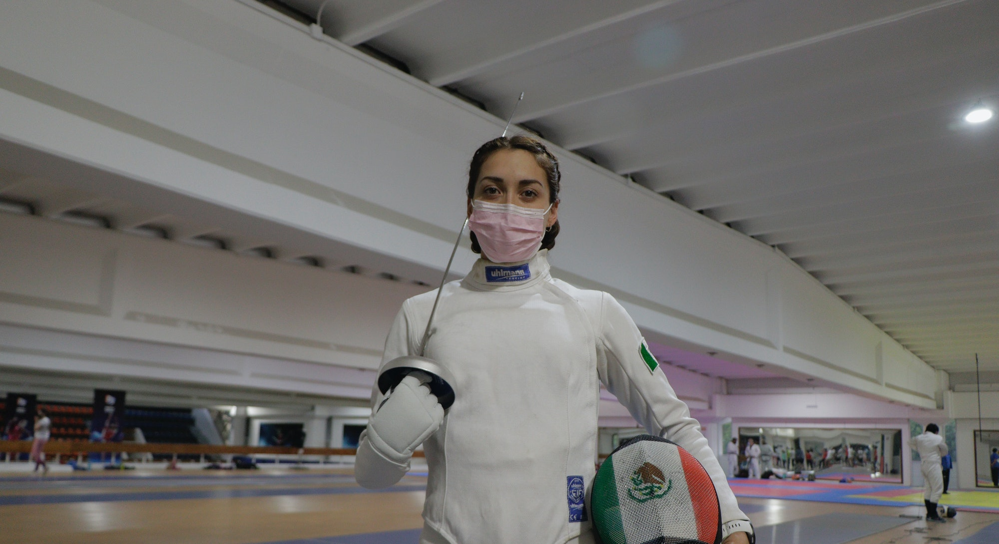 Mariana Arceo, mexican fencer and athlete, poses before her final training session at the Benito Juarez Gymnasium in Mexico City ahead of her upcoming participation in the Tokyo 2020 Olympic Games during the COVID-19 health emergency.  Arceo won a gold medal at the 2019 Pan American Games in the modern pentathlon event, becoming the first Mexican woman to win gold in this discipline, and will participate for the first time in the Tokyo 2020 Olympic Games. (Photo by Gerardo Vieyra/NurPhoto via Getty Images)