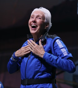 VAN HORN, TEXAS - JULY 20: Blue Origin's New Shepard crew member Wally Funk speaks during a press co...