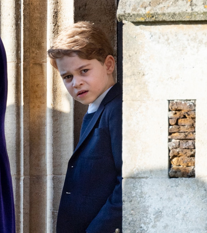KING'S LYNN, ENGLAND - DECEMBER 25: Prince George of Cambridge attends the Christmas Day Church serv...