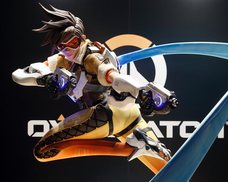 """PARIS, FRANCE - OCTOBER 25:  A figurine of the video game """" Overwatch  developed and published by Bl..."""