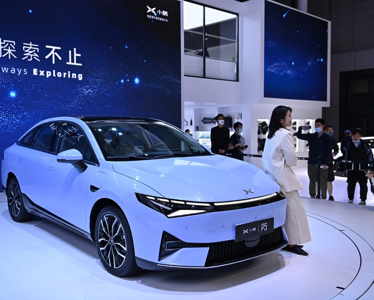 A Xpeng P5 car is seen during the 19th Shanghai International Automobile Industry Exhibition in Shan...