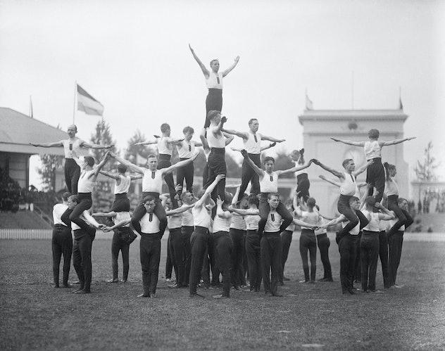 (Original Caption) 9/7/1920-Antwerp, Belgium- Picture shows a men's gymnast group in a configuration...