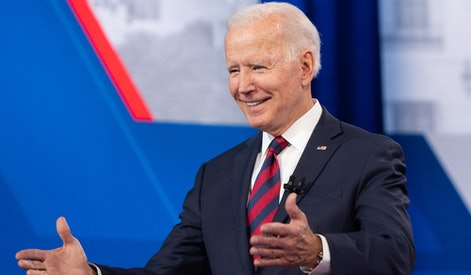 US President Joe Biden participates in a CNN Town Hall hosted by Don Lemon at Mount St. Joseph Unive...
