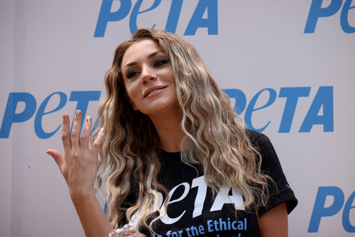 """WASHINGTON, DC - JULY 21: Model, singer and songwriter Courtney Stodden attends the PETA Congressional Veggie Dog Lunch outside the Longworth House Office Building July 21, 2021 in Washington, DC. PETA held it's annual lunch with an emphasis on celebrating """"all the vegan progress that's been made in the past 25 years."""" (Photo by Win McNamee/Getty Images)"""