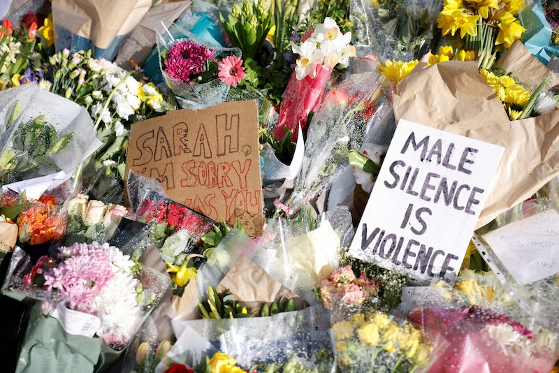 Floral tributes and messages in honour of Sarah Everard, the missing woman whose remains were found ...