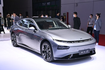 A Xpeng P7 car is seen during the 19th Shanghai International Automobile Industry Exhibition in Shan...