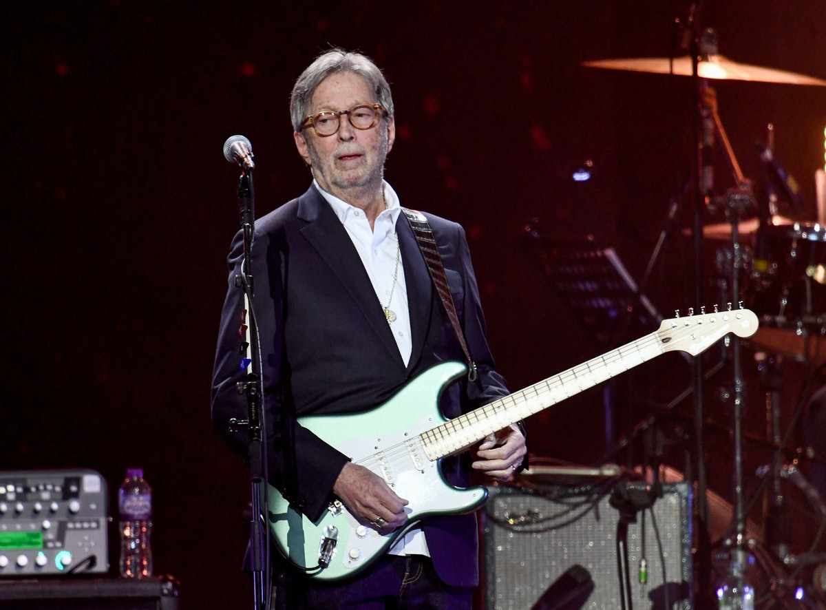 LONDON, ENGLAND - MARCH 03: Eric Clapton performs on stage during Music For The Marsden 2020 at The ...