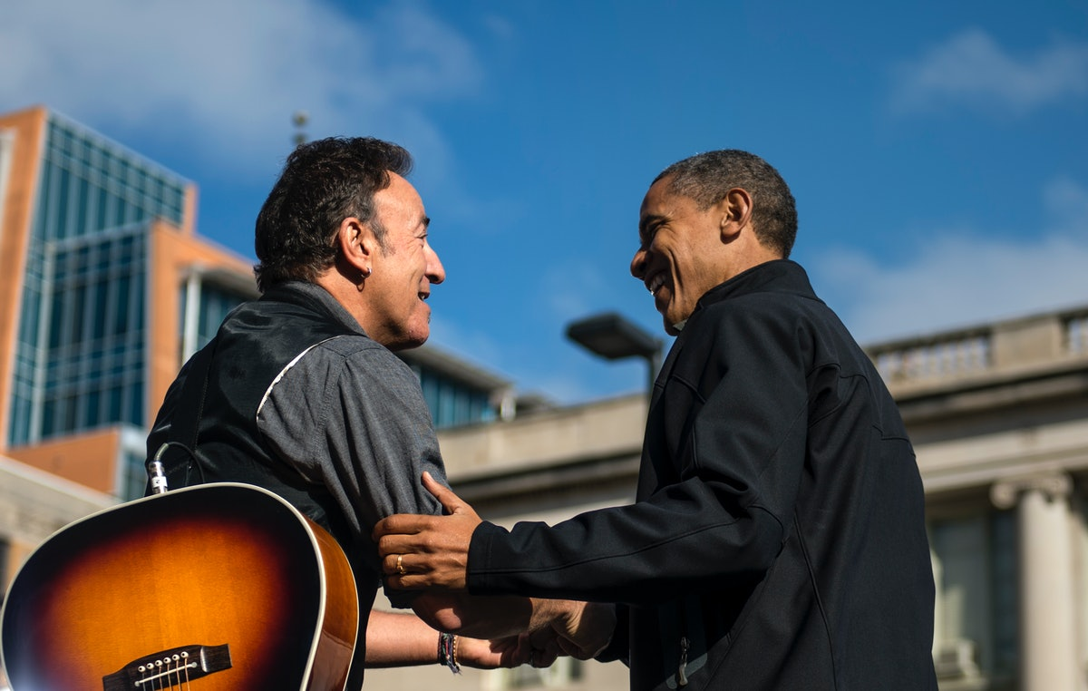 MADISON, WISCONSIN: NOVEMBER 5 -- Bruce Springsteen shares a moment with President Barack Obama duri...