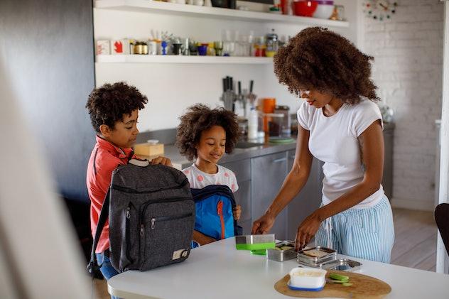 Mother making school lunch to her children.