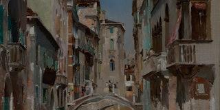 Canal in Venice, San Trovaso Quarter, ca. 1885. Artist Robert Frederick Blum. (Photo by Heritage Art...