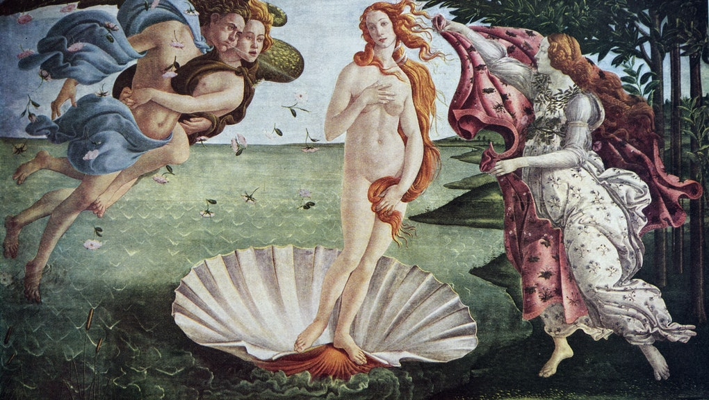 Painting titled 'The Birth of Venus' by Sandro Botticelli. Alessandro di Mariano di Vanni Filipepi (...