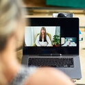 Mature women communicating on internet during therapy session, friends talking on video call, woman ...