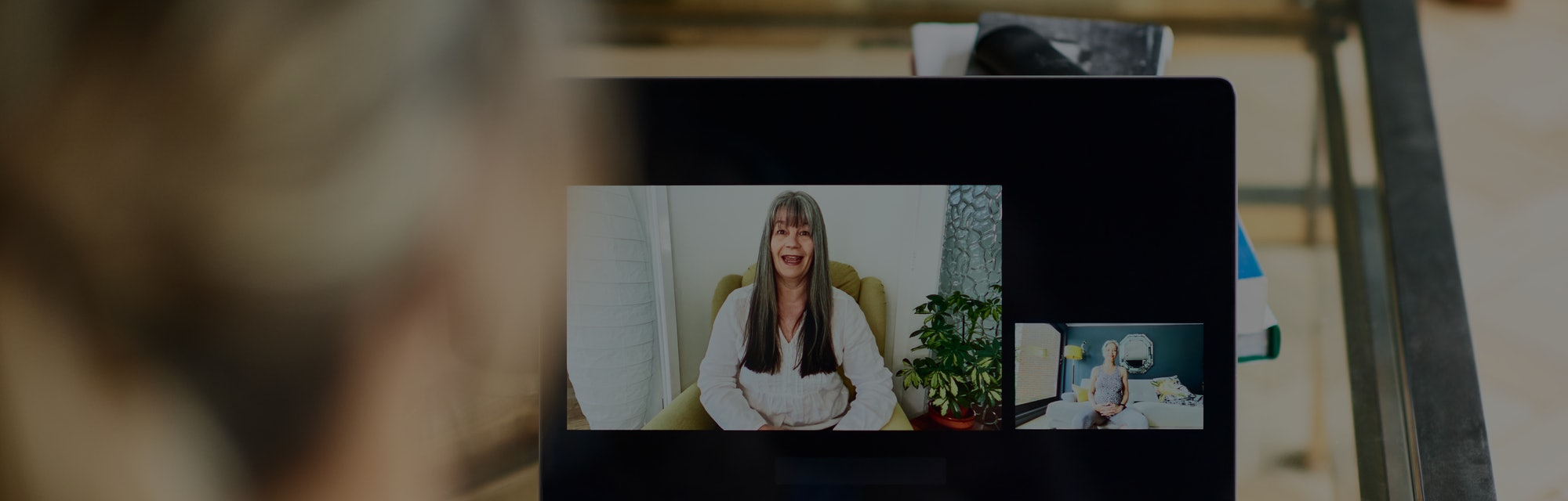 Mature women communicating on internet during therapy session, friends talking on video call, woman receiving guidance and support, e-health consultation