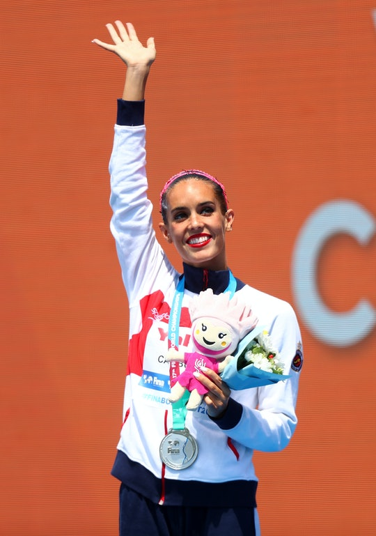 BUDAPEST, HUNGARY - JULY 19:  Silver medalists Ona Carbonell of Spain poses with the medal won durin...