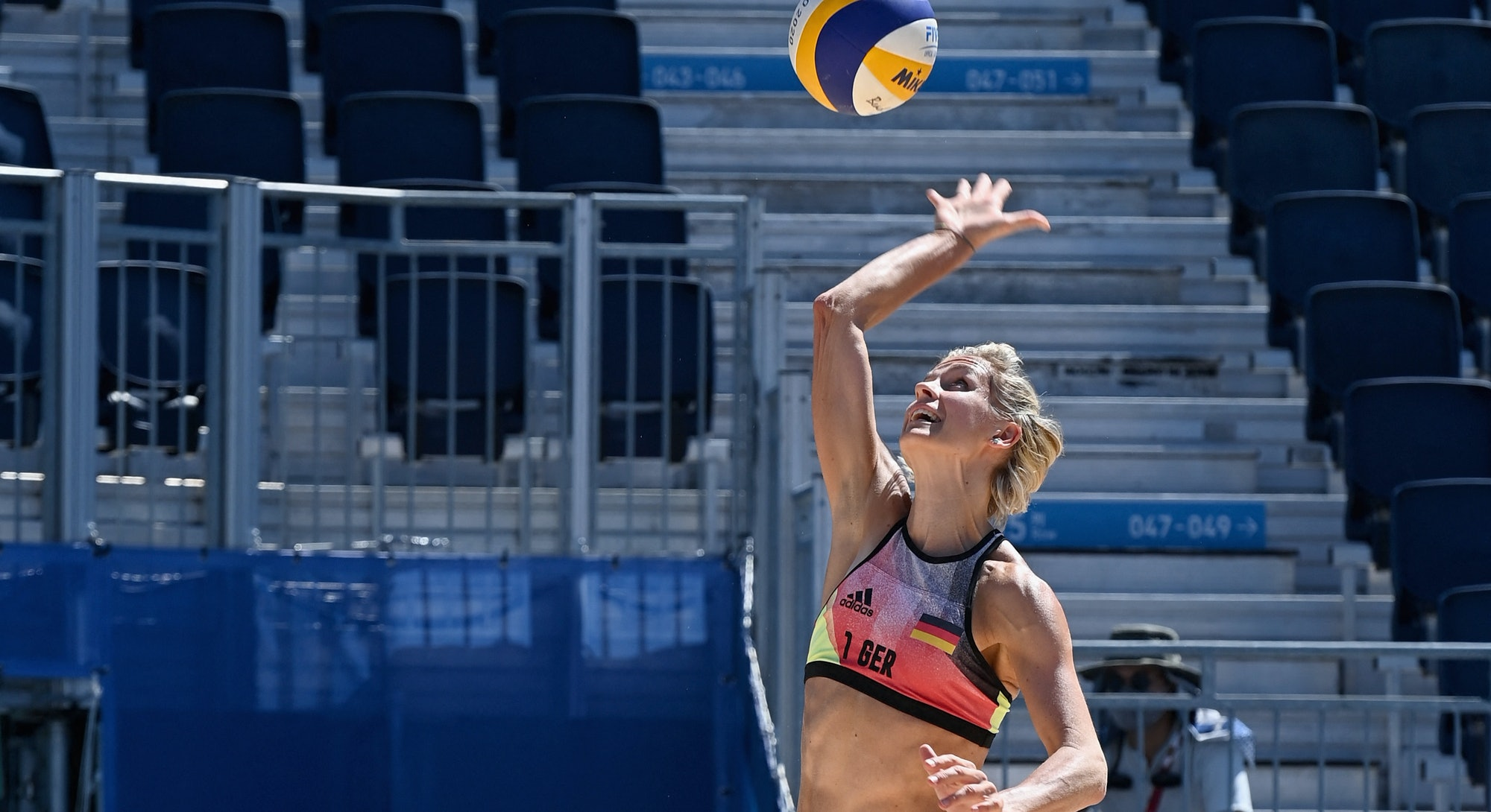 Olympic 2016 gold medallist Germany's Laura Ludwig takes part in  a bach volleyball training session...