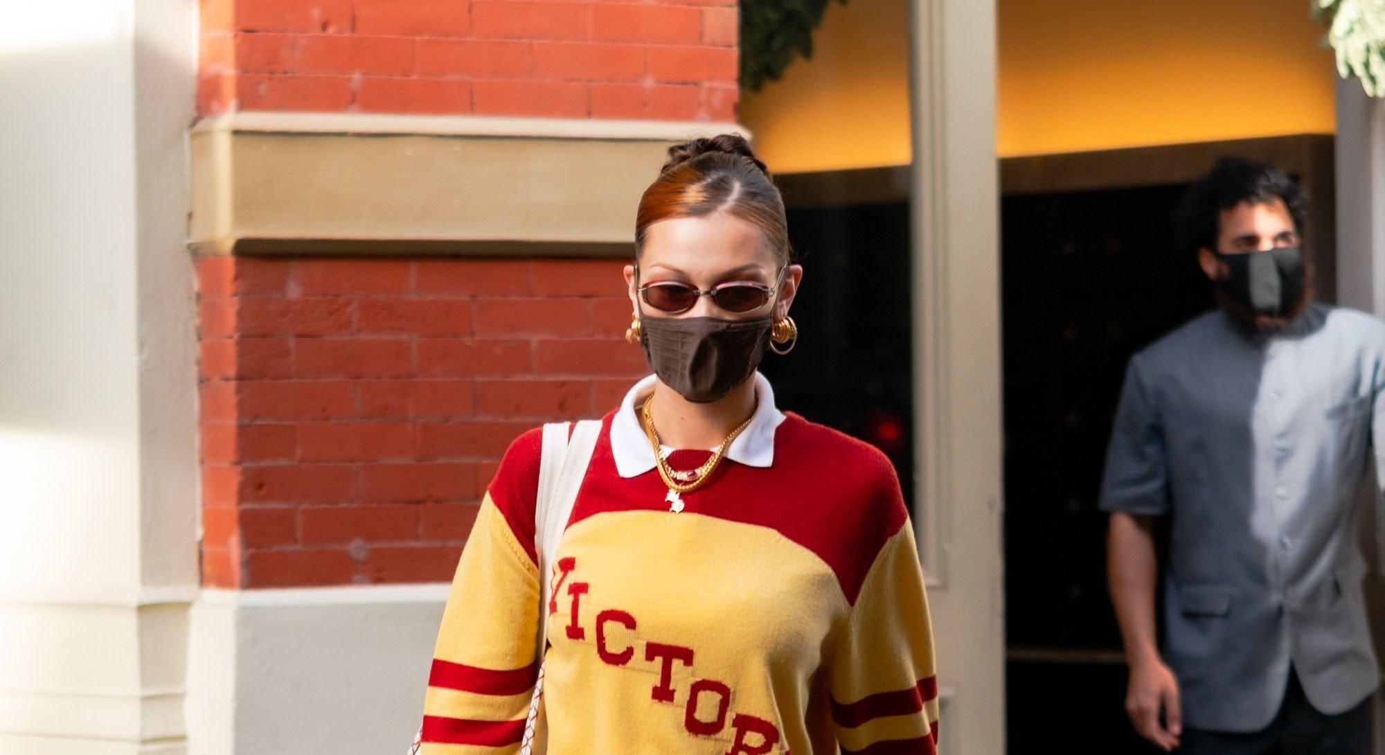 NEW YORK, NEW YORK - DECEMBER 23: Bella Hadid is seen in SoHo on December 23, 2020 in New York City....