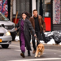 NEW YORK, NY - DECEMBER 08:  Hailee Steinfeld and Jeremy Renner seen on the set of 'Hawkeye' on the Lower East Side on December 8, 2020 in New York City.  (Photo by James Devaney/GC Images)