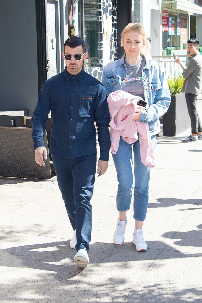 NEW YORK, NY - MAY 03:  Singer Joe Jonas (L) and actress Sophie Turner are seen in the East Village ...