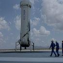 VAN HORN, TEXAS - JULY 20: Blue Origin's New Shepard crew (L-R) Jeff Bezos, Wally Funk, Oliver Daeme...