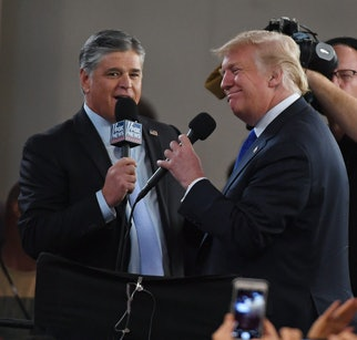 LAS VEGAS, NV - SEPTEMBER 20:  Fox News Channel and radio talk show host Sean Hannity (L) interviews...