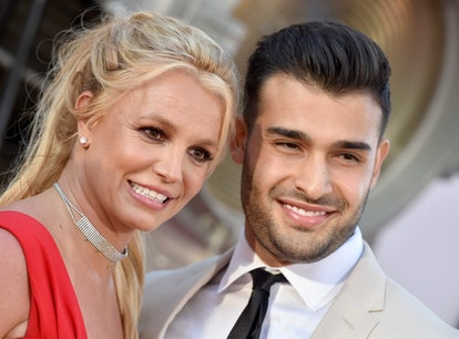 """HOLLYWOOD, CALIFORNIA - JULY 22: Britney Spears and Sam Asghari attend Sony Pictures' """"Once Upon a T..."""