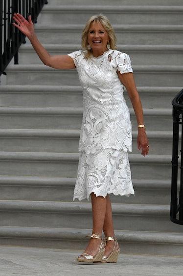 US First Lady Jill Biden waves after US President Joe Biden delivered a speech during Independence D...