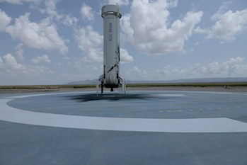 VAN HORN, TEXAS - JULY 20: The booster for Blue Origin's New Shepard sits on the landing pad after p...