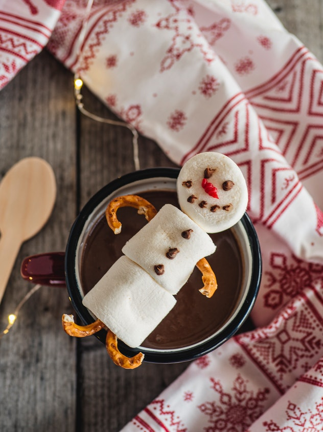 Snowman made from marshmallows