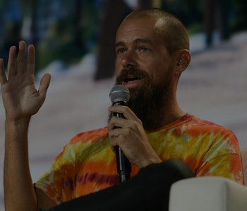 Jack Dorsey, CEO of Twitter and co-founder & CEO of Square, speaks during the crypto-currency confer...