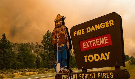 MARKLEEVILLE, CALIFORNIA, UNITED STATES - 2021/07/17: A fire danger sign seen outside the Tamarack f...