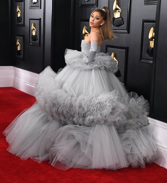 Ariana Grande in a grey gown at the 62nd Annual GRAMMY Awards in 2020