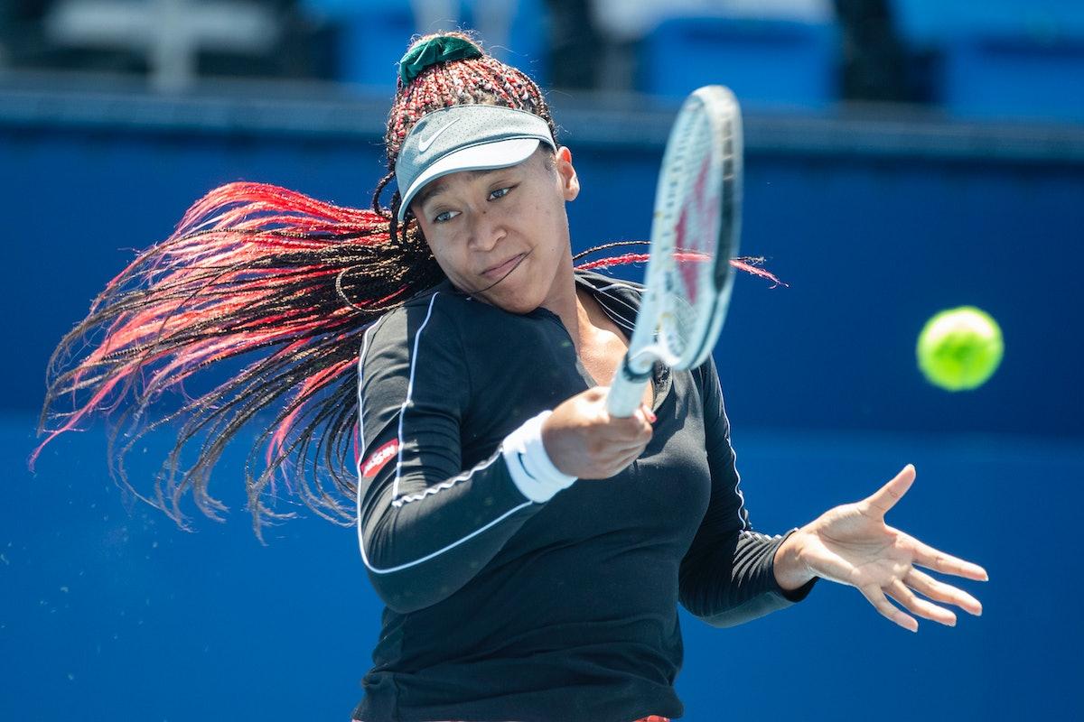 TOKYO, JAPAN - JULY 23: Naomi Osaka of Japan practicing on court one at Ariake Tennis Park in prepar...