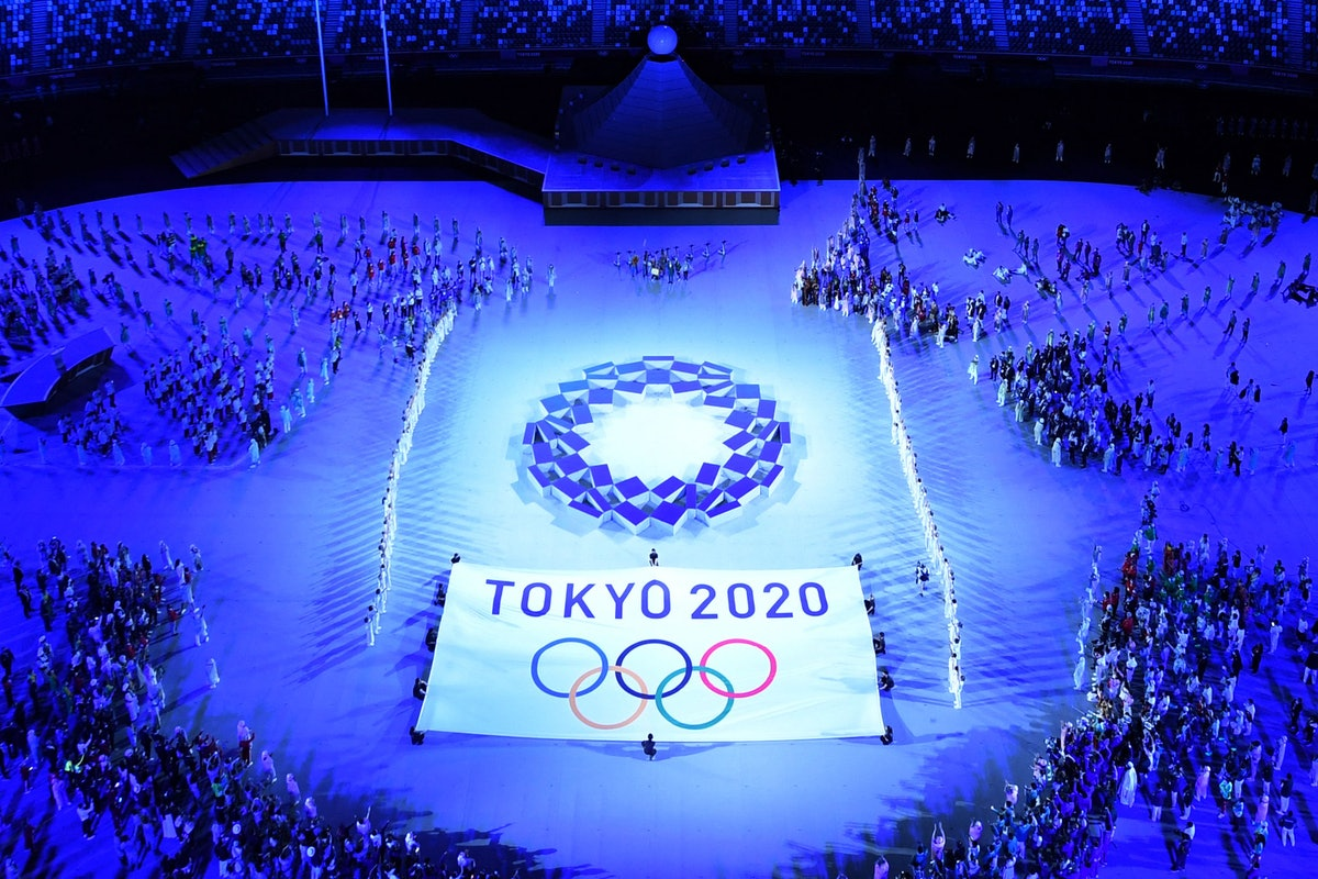 An overview shows the Tokyo 2020 emblem during the opening ceremony of the Tokyo 2020 Olympic Games,...
