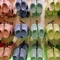 LONDON - OCTOBER 18: Rows of hanging Crocs in the first UK Crocs store on October 18, 2007 in London England. Crocs have launched a new Mammoth model for the winter to celebrate the opening of the new store.  (Photo by Cate Gillon/Getty Images)