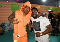 LOS ANGELES, CA - MARCH 11:  TV personality Nick Cannon (L) and actor Kevin Hart at Nickelodeon's 2017 Kids' Choice Awards at USC Galen Center on March 11, 2017 in Los Angeles, California.  (Photo by Jeff Kravitz/FilmMagic)