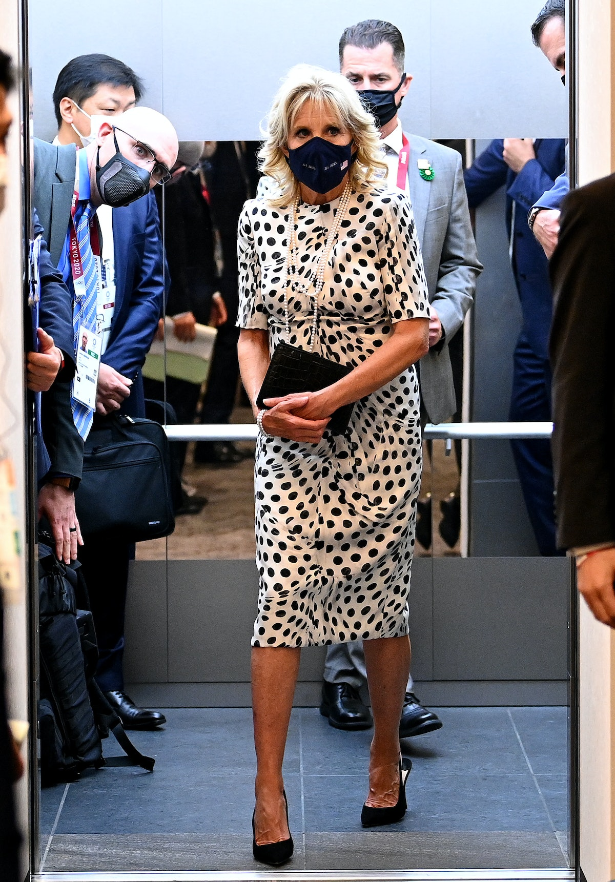 U.S. First Lady, Jill Biden arrives prior to the Opening Ceremony of the Tokyo 2020 Olympic Games in...