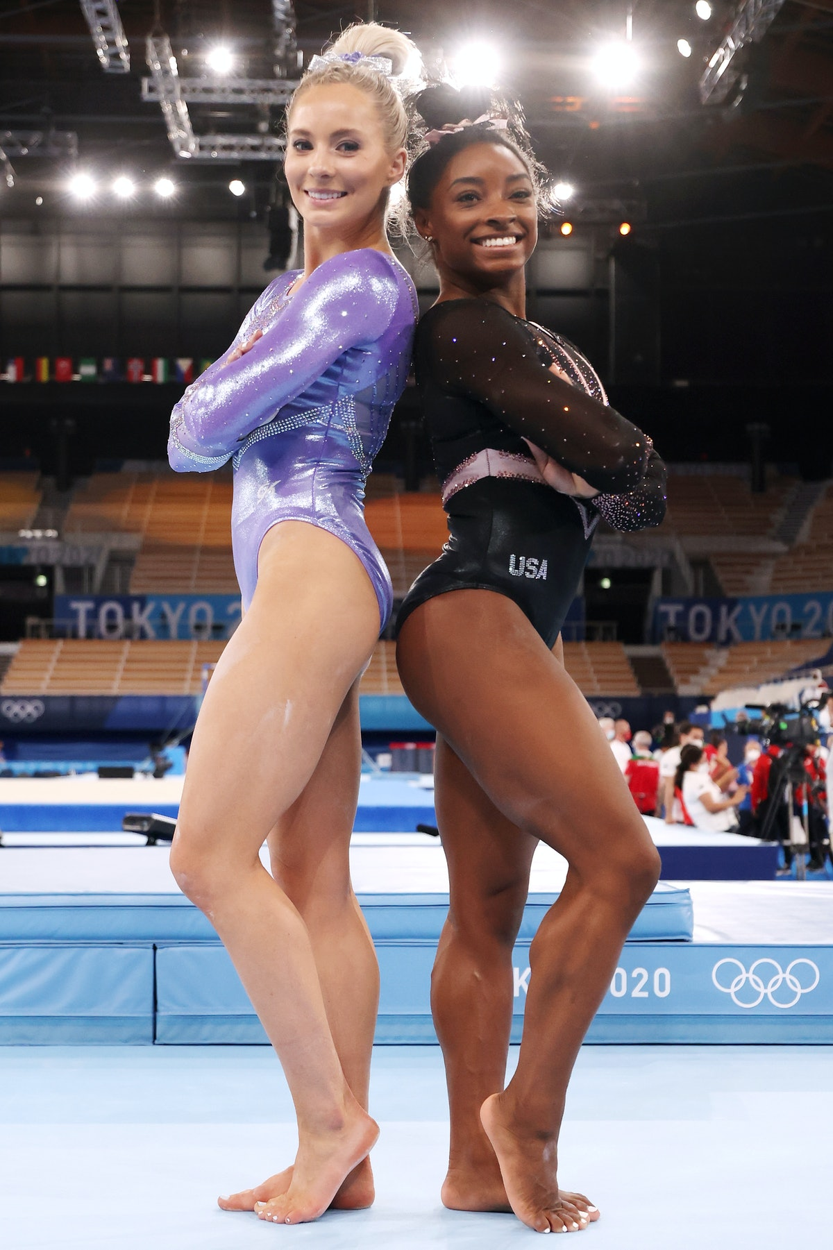 Team USA gymnasts MyKayla Skinner and Simone Biles pose for a picture in Swarowski-bedazzled GK Elit...