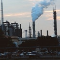 LOUISIANA- OCTOBER: Oil and chemical refinery plants cover the landscape, next to African American communities along the Mississippi River, October, 1998, south of Baton Rouge, Louisiana. (Photo by Andrew Lichtenstein/Corbis via Getty Images)